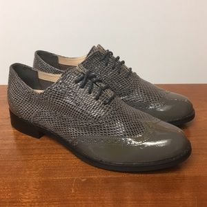 Cole Haan Patent Leather Gray Wingtips